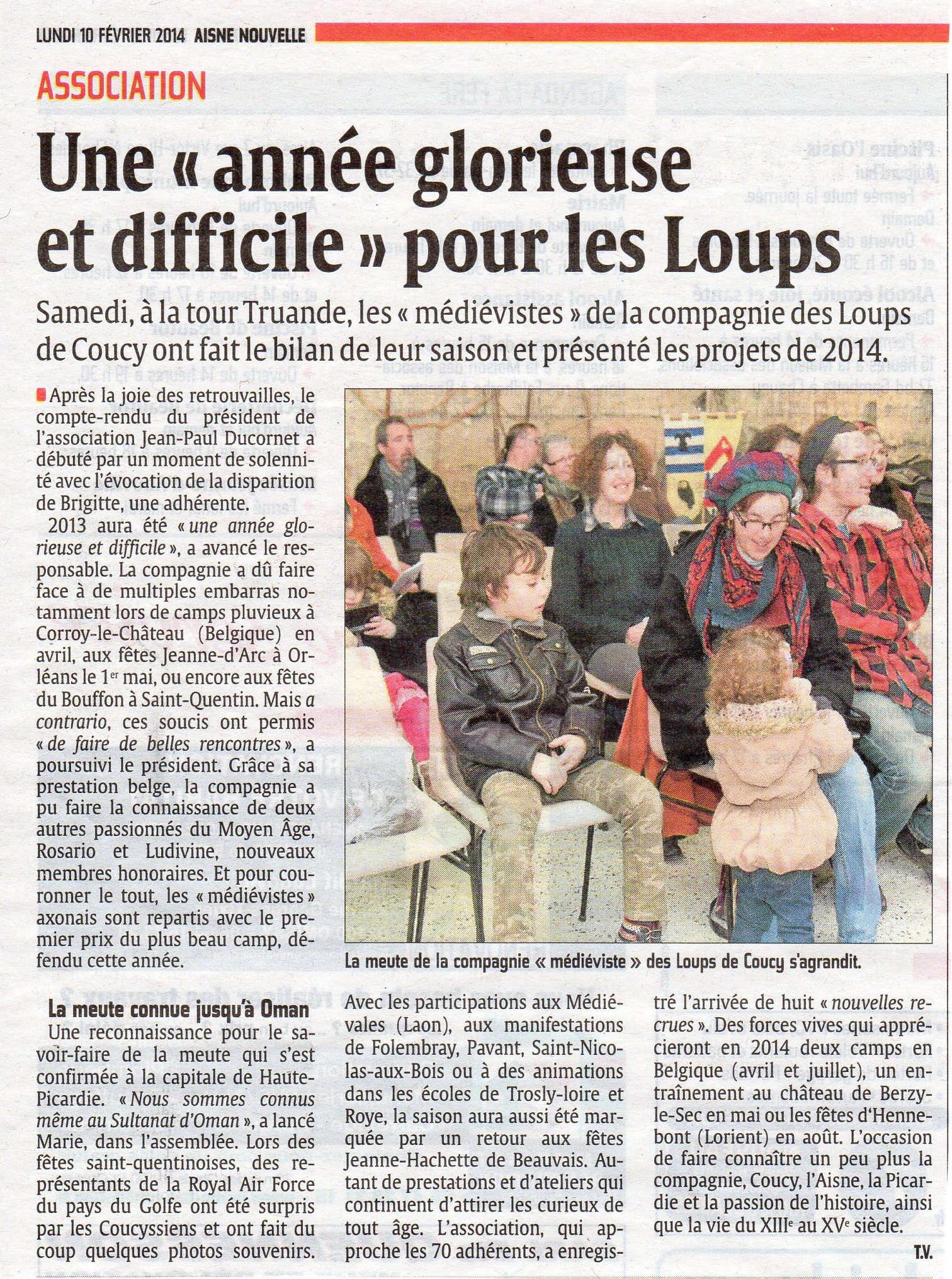 L'assemblée générale des Loups de Coucy -article de l'Aisne Nouvelle